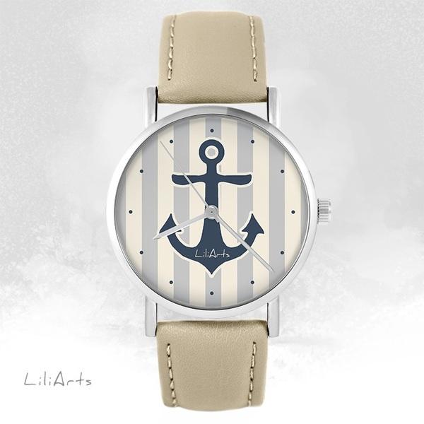 Zegarek LiliArts - Kotwica szara - beżowy, skórzany