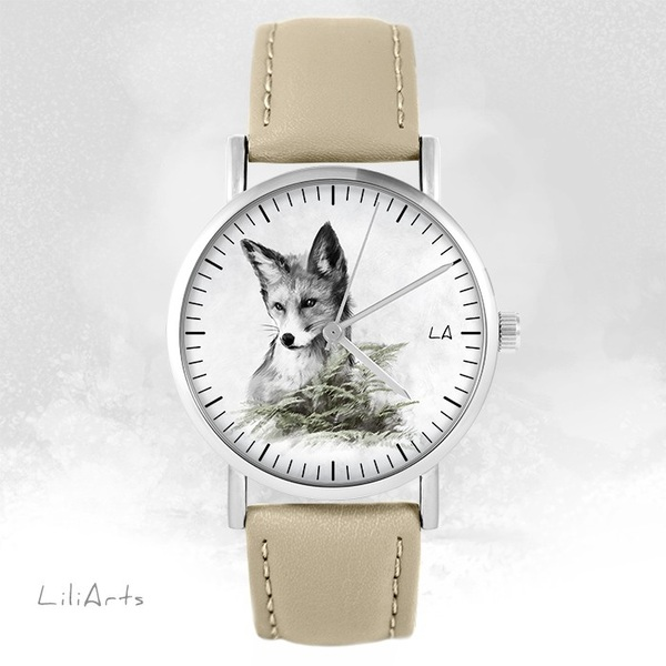 Zegarek LiliArts - Lis - Into The Wild - beżowy, skórzany