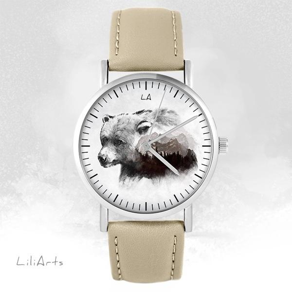 Zegarek LiliArts - Niedźwiedź - Into The Wild - beżowy, skórzany