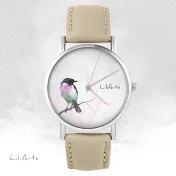 LiliArts watch - Pastel bird - beige, leather