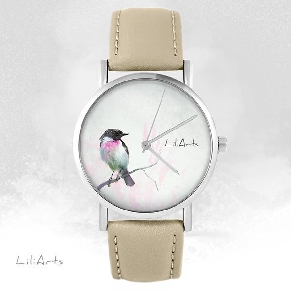 Zegarek LiliArts - Pastelowy ptaszek - beżowy, skórzany