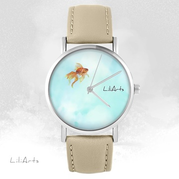 LiliArts watch - Fish - beige, leather