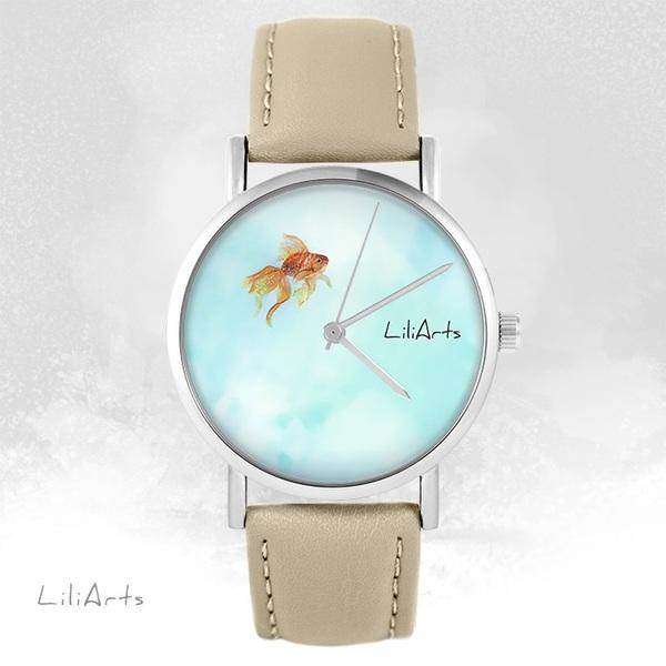 Zegarek LiliArts - Rybka - beżowy, skórzany