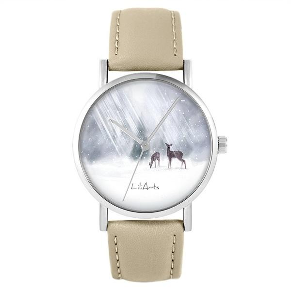 Zegarek LiliArts - Sarenki - beżowy, skórzany