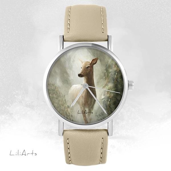 Zegarek LiliArts - Sarna w lesie - beżowy, skórzany
