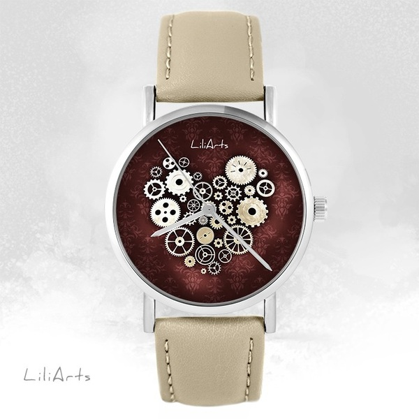 LiliArts watch - Steampunk heart - beige, leather