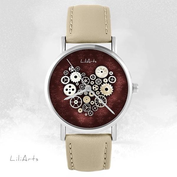 Zegarek LiliArts - Serce Steampunk - beżowy, skórzany