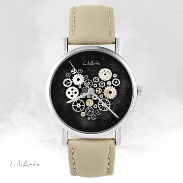 Watch LiliArts - Steampunk heart black - beige, leather