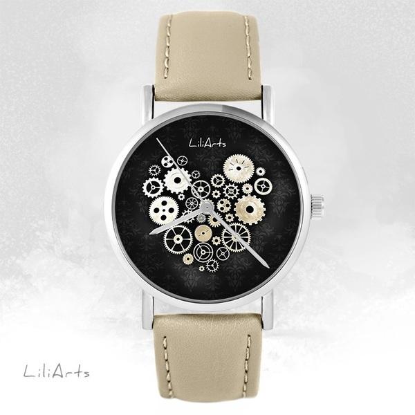 Zegarek LiliArts - Serce Steampunk czarne - beżowy, skórzany
