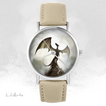 LiliArts watch - Shadow dragon - beige, leather