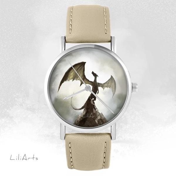 LiliArts watch - Shadow dragon - beige, leather