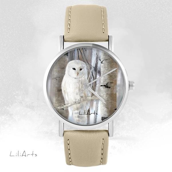 Zegarek LiliArts - Sowa - beżowy, skórzany