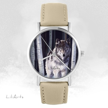 LiliArts watch - Gray wolf - beige, leather