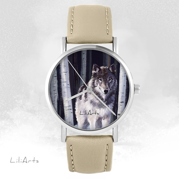 Zegarek LiliArts - Szary wilk - beżowy, skórzany