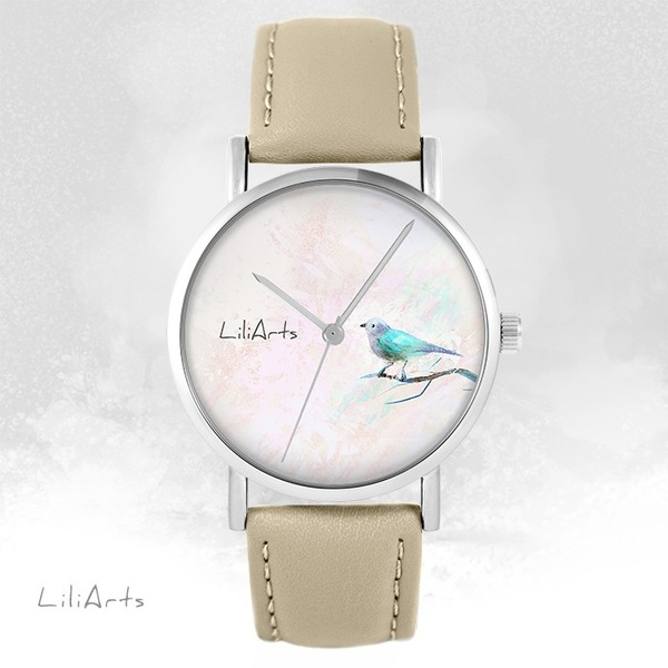 Zegarek LiliArts - Turkusowy ptaszek - beżowy, skórzany