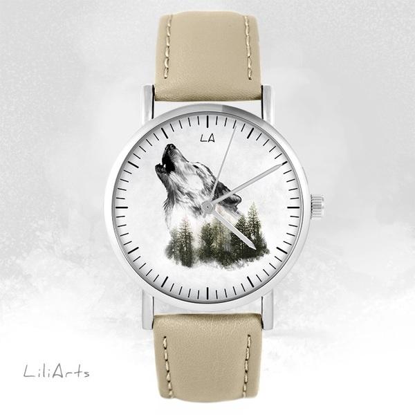 Zegarek LiliArts - Wilk - Into The Wild - beżowy, skórzany