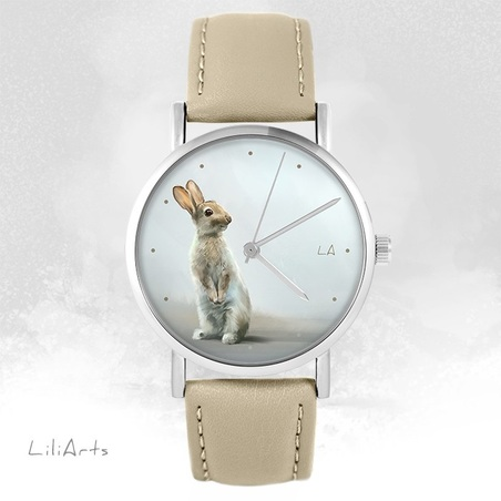 LiliArts - Hare watch - beige, leather