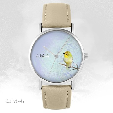LiliArts watch - Yellow bird - beige, leather
