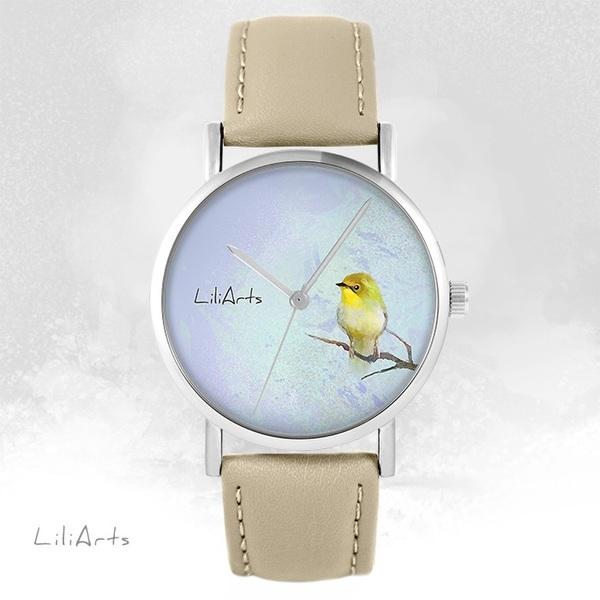 Zegarek LiliArts - Żółty ptaszek - beżowy, skórzany
