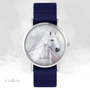 Zegarek LiliArts - Biały koń - granatowy, nato