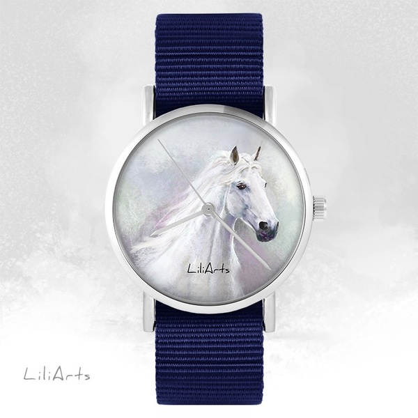 LiliArts watch - White horse - navy blue, nato