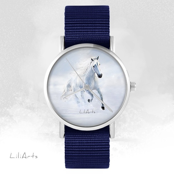 LiliArts watch - White running horse - navy blue, nato