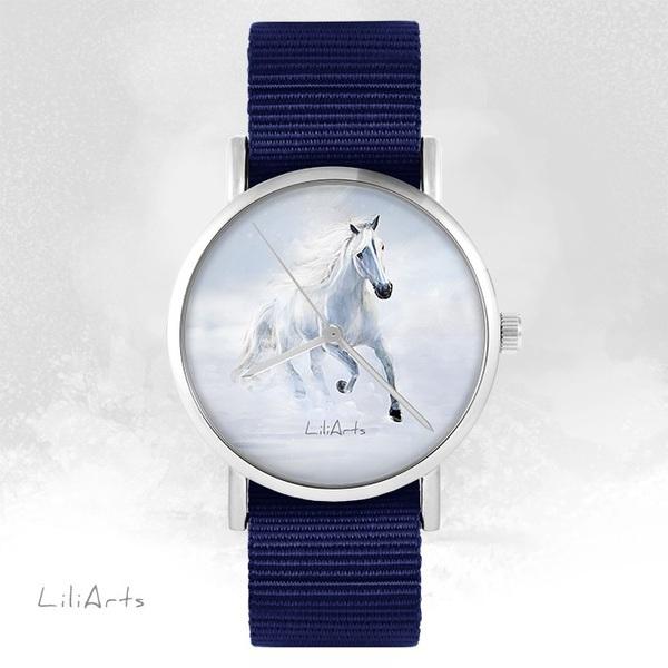 Zegarek LiliArts - Biały koń biegnący - granatowy, nato