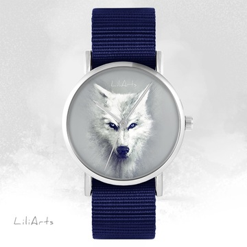 LiliArts watch - White Wolf - navy blue, nato