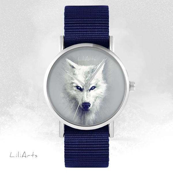 LiliArts watch - White Wolf - navy blue, nato