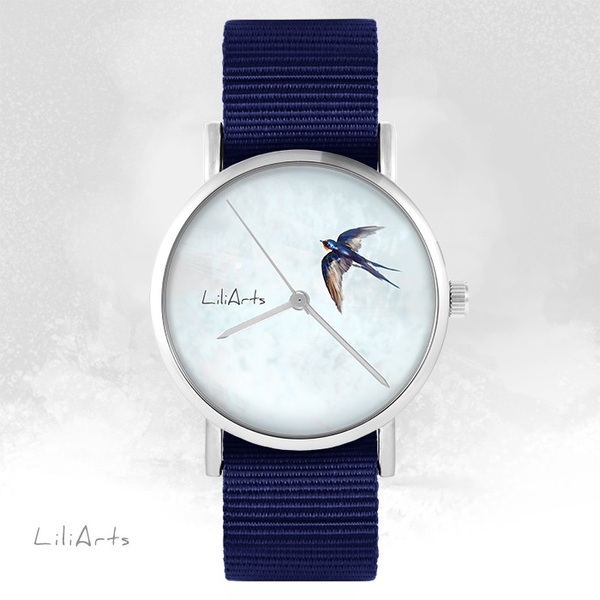 LiliArts watch - Swallow - navy blue, nato