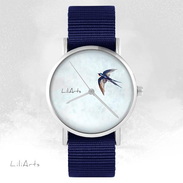 Zegarek LiliArts - Jaskółka - granatowy, nato