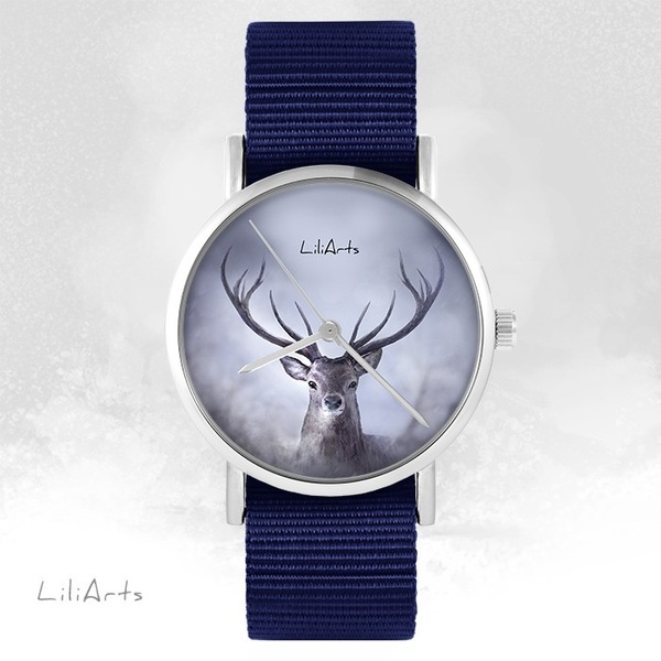 LiliArts - Deer 1 watch - navy blue, nato