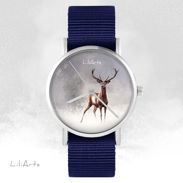 LiliArts watch - Deer 2 - navy blue, nato