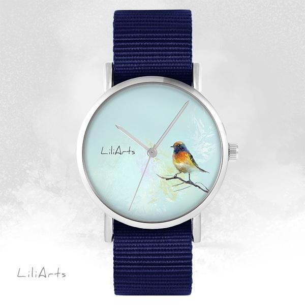 Zegarek LiliArts - Kolorowy ptaszek - granatowy, nato