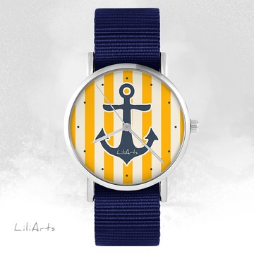 LiliArts watch - Anchor - navy blue, nato