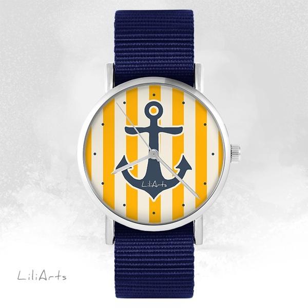 Zegarek LiliArts - Kotwica - granatowy, nato