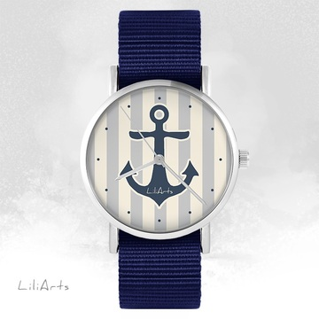 LiliArts watch - Anchor gray - navy blue, nato