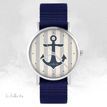 Zegarek LiliArts - Kotwica szara - granatowy, nato