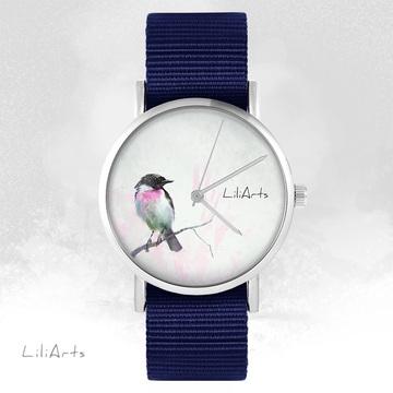 LiliArts watch - Pastel bird - navy blue, nato