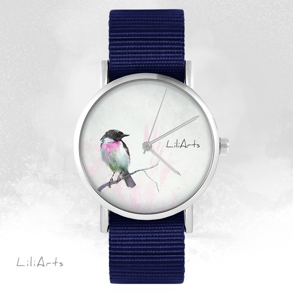 LiliArts watch - Pastel bird - navy blue, nato