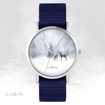 LiliArts watch - Roe-deers - navy blue, nato