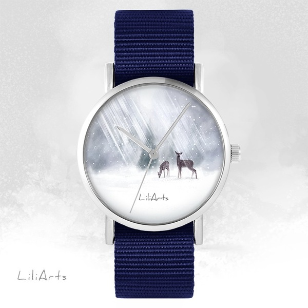 LiliArts watch - Roe-deers - navy blue, nato
