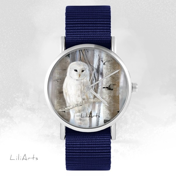LiliArts watch - Owl - navy blue, nato