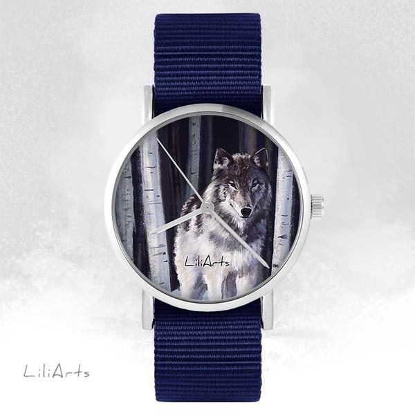 Zegarek LiliArts - Szary wilk - granatowy, nato