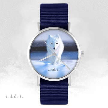 LiliArts watch - Snow fox - navy blue, nato