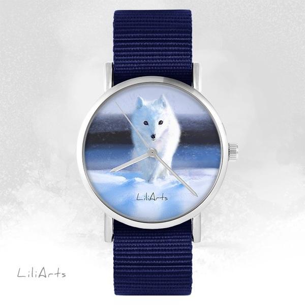 Zegarek LiliArts - Śnieżny lis - granatowy, nato