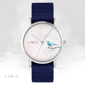 LiliArts watch - Turquoise bird - navy blue, nato