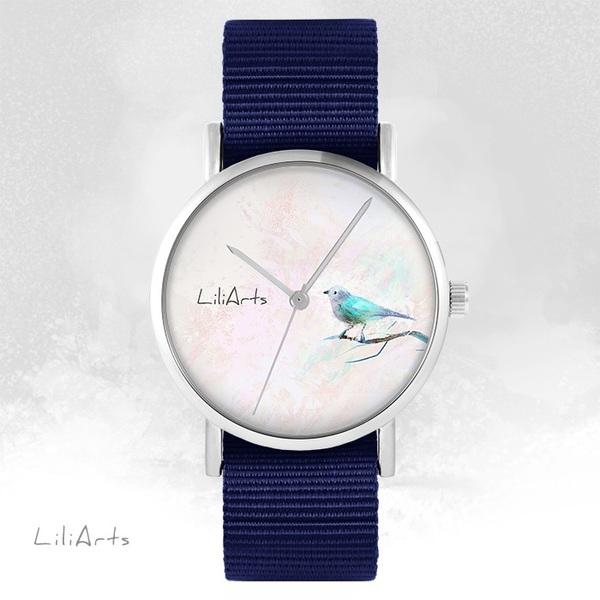 Zegarek LiliArts - Turkusowy ptaszek - granatowy, nato