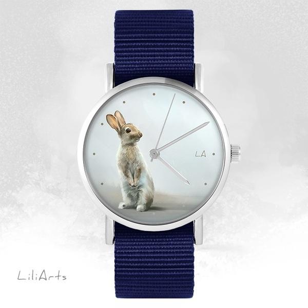 Zegarek LiliArts - Zając - granatowy, nato