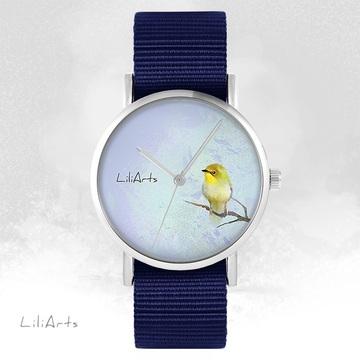 LiliArts watch - Yellow bird - navy blue, nato